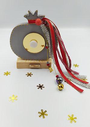 Ξύλινο ρόδι γκρι με χρυσό plexiglass