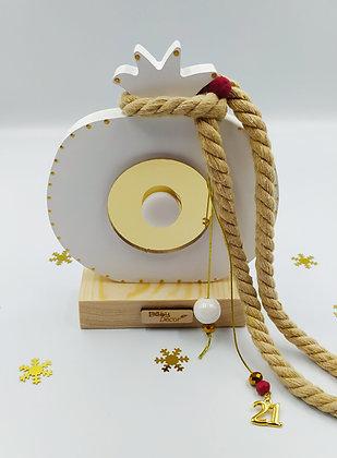 Ξύλινο ρόδι λευκό με χρυσό plexiglass