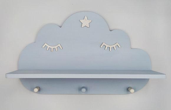 Ξύλινο σύννεφο ραφάκι γαλάζιο με λευκές βλεφαρίδες
