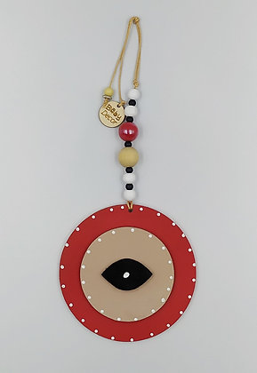 Ξύλινο Γούρι Eye κόκκινα με μόκα