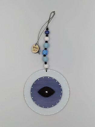 Ξύλινο Γούρι Eye λευκό με ραφ μπλε
