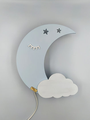 Φωτιστικό Φεγγάρι Γαλάζιο με λευκό συννεφάκι
