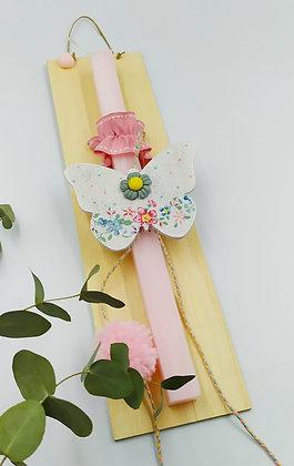 """Ροζ Λαμπάδα """"Floral Butterfly"""""""