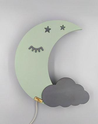 Φωτιστικό Φεγγάρι Μέντα με γκρι συννεφάκι