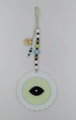 Ξύλινο Γούρι Eye λευκό με μέντα