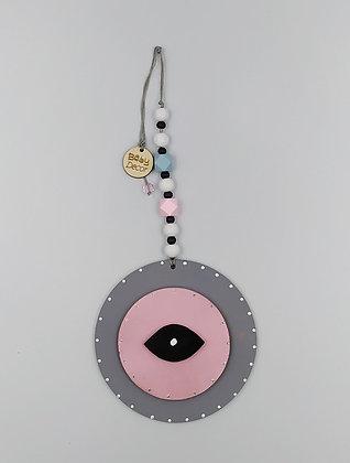 Ξύλινο Γούρι Eye γκρι με ροζ