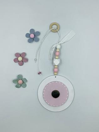 Ξύλινο Γούρι Eye λευκό με ροζ