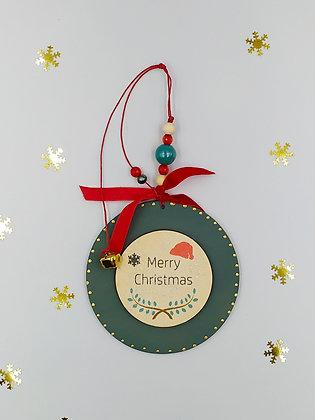 """Ξύλινο γούρι κρεμαστό """"Merry Christmas"""""""