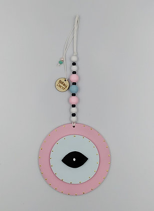 Ξύλινο Γούρι Eye ροζ με μέντα