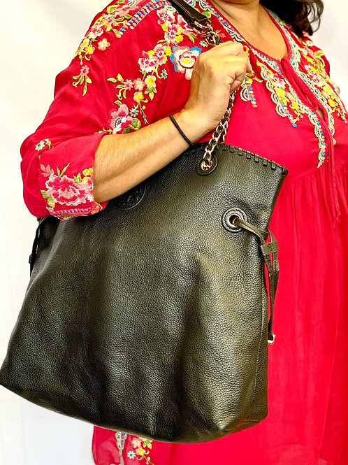 Tory Burch Marion Hudson Slouchy Black Pebbled Leather Tote