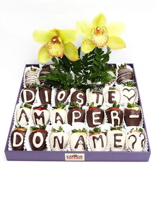 Bandeja Fresas c/choco mensaje y 2 orquídeas