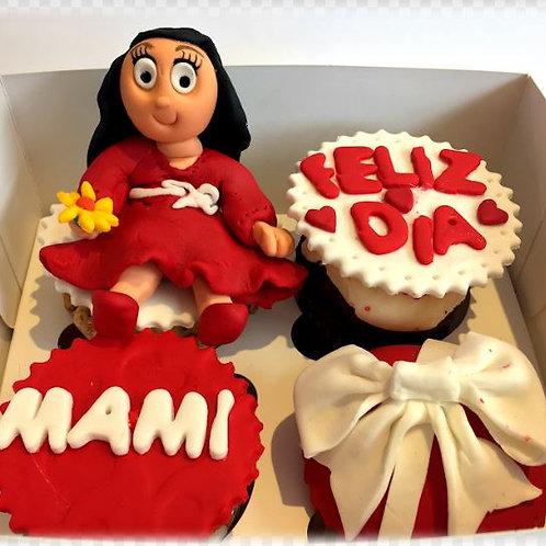 Cupcakes en fondant y con figura comestible (caja 4 unid)