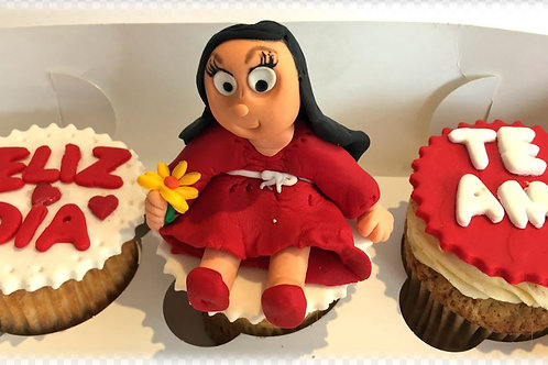 Cupcakes en fondant y con figura comestible (caja 3 unid)