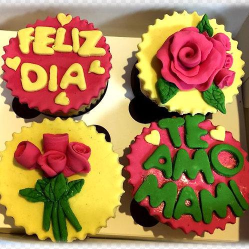 Cupcakes en fondant (caja 4 unid)