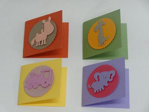 Mini tarjeta artesanal - Animalitos