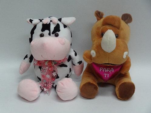 Peluches pequeños - Vaca y Rino