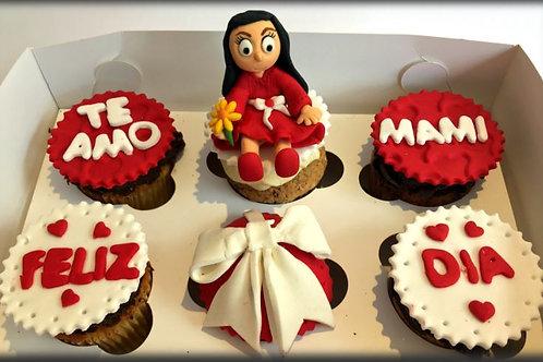 Cupcakes en fondant y con figura comestible (caja 6 unid)