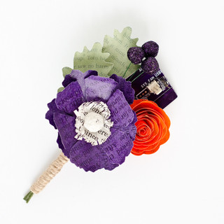 book themed wedding boutonniere with motherboard | handmade by Anthology On Main