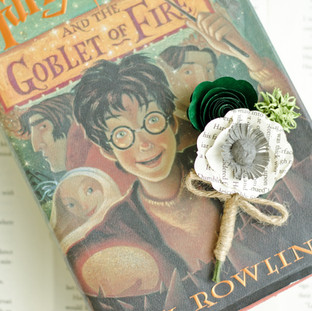 green and gray wedding boutonniere made from Harry Potter | handmade by Anthology On Main