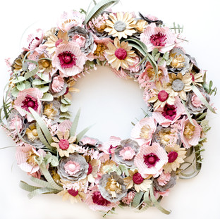 custom wedding wreath | book themed wedding centerpiece | blush and burgundy wedding | custom book themed wedding flowers by Anthology On Main
