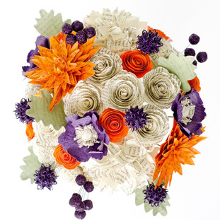 bridal book bouquet | orange and purple wedding colors | handmade by Anthology On Main