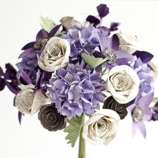 fully custom bridal bouquet made from Winnie the Pooh, Pride and Prejudice and Persuasion; flowers include clematis, lisianthus, hydrangeas, dusty miller, sweet peas, and roses   handmade by Anthology On Main