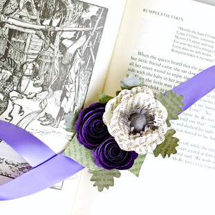 ribbon wrist corsage made from Brothers Grimm Fairy Tales | handmade by Anthology On Main