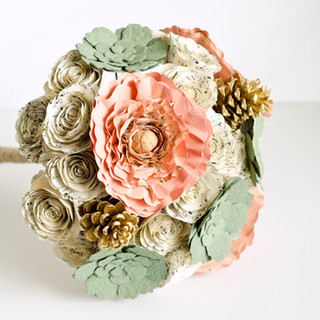 vintage themed wedding bouquet with peonies, succulents, roses and pine cones | book themed wedding | handmade by Anthology On Main