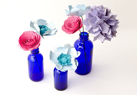 Anemone Floral Arrangement with Bud Vases