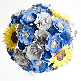 custom book bouquet | blue and yellow wedding colors | sunflowers, poppies, and roses | handmade by Anthology On Main