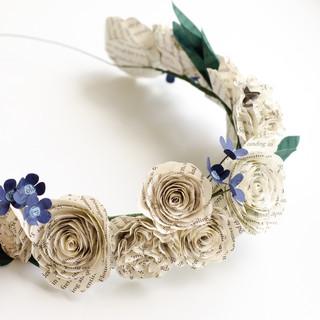 bridesmaid flower crown | custom book themed wedding flowers handmade by Anthology On Main