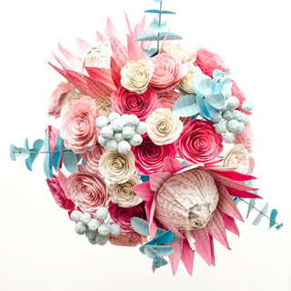 tropical book page bridal bouquet   king protea and roses   handmade by Anthology On Main