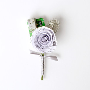 boutonniere made from books, wire and computer motherboard | handmade by Anthology On Main