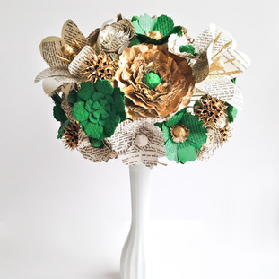 Jane Austen bridal bouquet in gold, emerald green and ivory | handmade by Anthology On Main