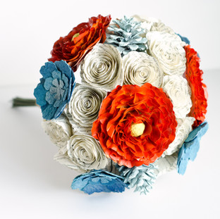 book themed peony bouquet in orange and blue | handmade by Anthology On Main