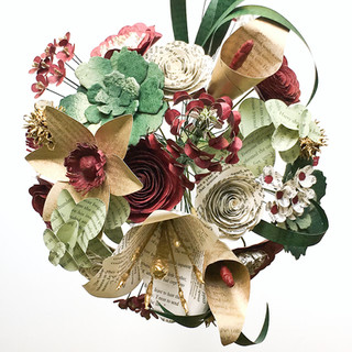 fall bridal bouquet, handmade from book pages | burgundy, hunter, ivory wedding colors | handmade by Anthology On Main
