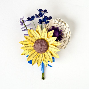 wildflower groom's boutonniere | book themed wedding | handmade by Anthology On Main