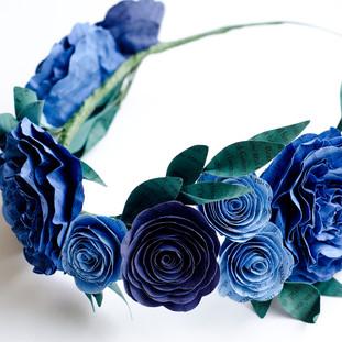 blue wedding crown   custom book themed wedding flowers handmade by Anthology On Main