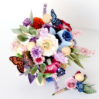 wildflower book page bridal bouquet with butterflies   handmade by Anthology On Main