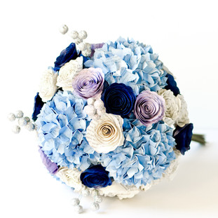 hydrangea bridal bouquet in light blue, navy and lilac | Jane Austen literary themed wedding | handmade by Anthology On Main