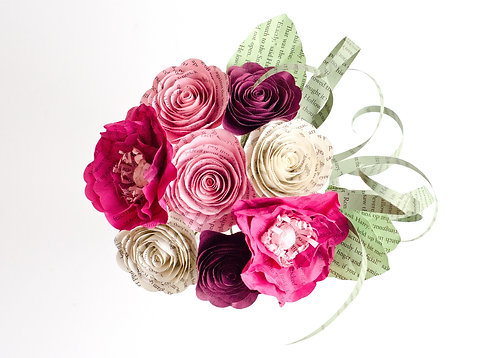 Poppy and Rose Flower Girl Bouquet with Customization