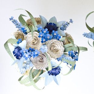 book themed bridal and bridesmaid bouquets | blue bouquets with clematis, roses, forget-me-nots, lily grass, larkspur | handmade by Anthology On Main