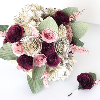 blush and burgundy book bouquet   handmade by Anthology On Main