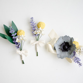 book themed wedding | groom's boutonniere, groomsmen boutonniere, wrist corsage | handmade by Anthology On Main