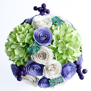 hydrangea book themed wedding bouquet with computer motherboard details | handmade by Anthology On Main