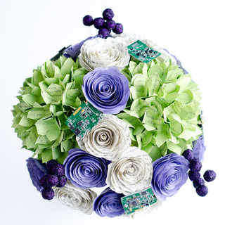 hydrangea book themed wedding bouquet with computer motherboard details   handmade by Anthology On Main