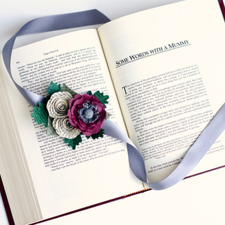 Edgar Allan Poe wrist corsage made from book pages | handmade by Anthology On Main
