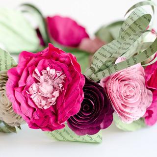 bridal flower crown | custom book themed wedding flowers handmade by Anthology On Main