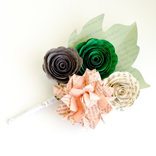 spring wedding book page boutonniere | handmade by Anthology On Main