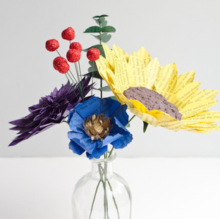 book page centerpieces | custom book themed wedding flowers by Anthology On Main